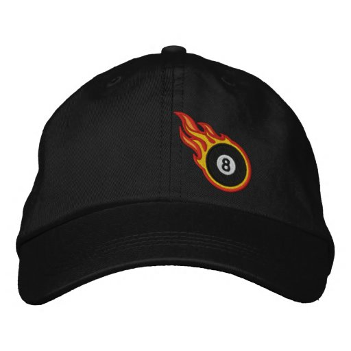 the latest 7acaf 41c51 Custom Racing Flames Eight ball Bullet Badge Embroidered Baseball Cap    Zazzle.com