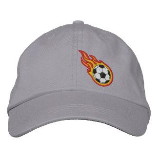 Custom Racing Flames Soccer Bullet Badge Embroidered Baseball Hat