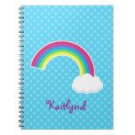 Custom Rainbow and Cloud Spiral Notebook