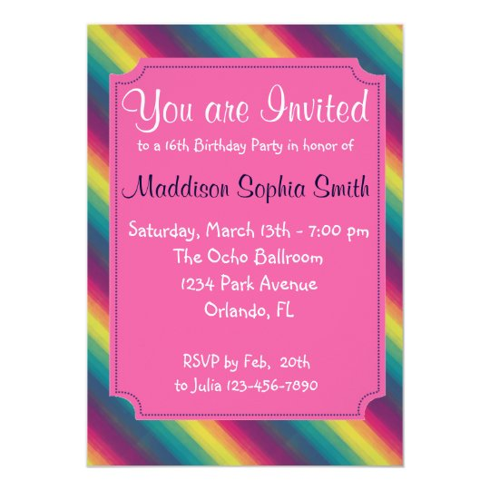 Custom Rainbow Birthday Invites