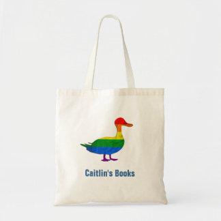 Custom Rainbow Duck Library Book Bag