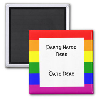 Custom Rainbow Flag Party Favors 2 Inch Square Magnet