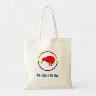 Custom Rainbow Kiwi Bird Library Book Bag