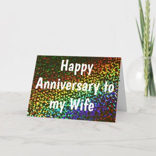 Custom Rainbow LGBT To My Wife Happy Anniversary Card