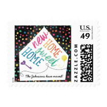 Custom Rainbow Moving Announcement Postage Stamps