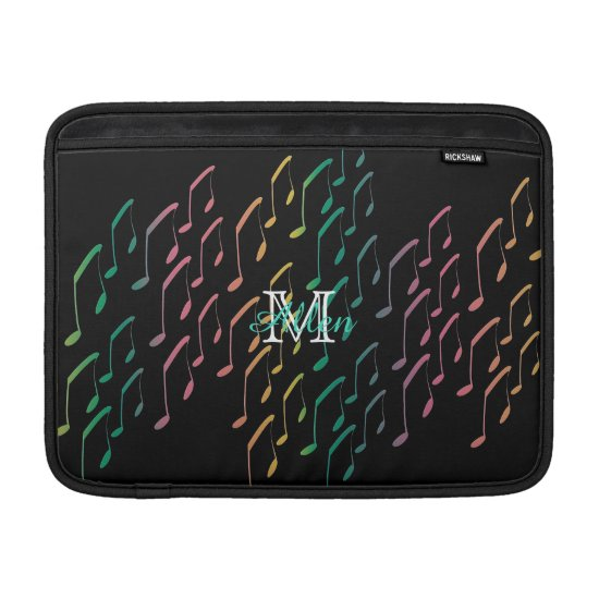 Custom Rainbow Music Notes Macbook Air Sleeve