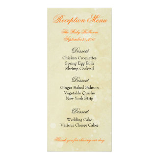Custom Reception Menus - Sunny Yellow