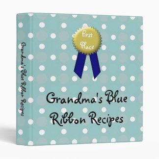 Custom Recipe Book, Grandma's Blue Ribbon Vinyl Binders