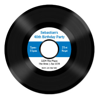 Custom Record Album 5.25x5.25 Square Paper Invitation Card