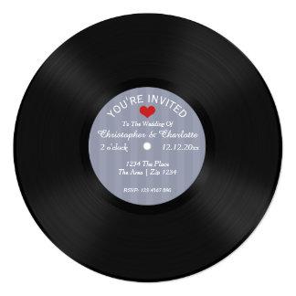 Custom Record Album Novelty Wedding 5.25x5.25 Square Paper Invitation Card