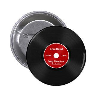 Custom Record Personalize Pinback Button