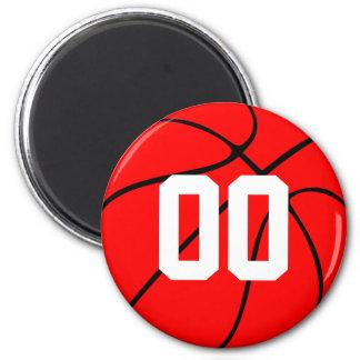 Custom Red and Black Basketball Fridge Magnet