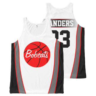 Custom Red and Black Basketball Jerseys All-Over Print Tank Top