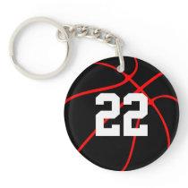 Custom Red and Black Basketball Key Chain