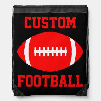 Custom Red and Black Football Drawstring Backpack