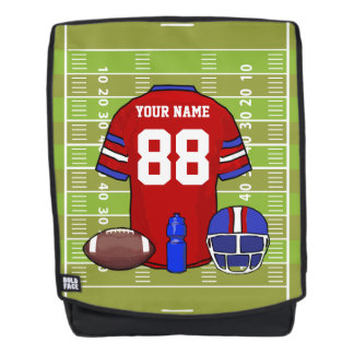 Custom Red and Blue Football Jersey on Field Backpack