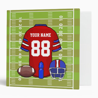 Custom Red and Blue Football Jersey on Field Binder