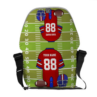 Custom Red and Blue Football Jersey on Field Courier Bag