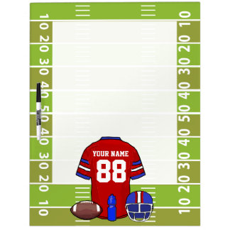 Custom Red and Blue Football Jersey on Field Dry-Erase Board