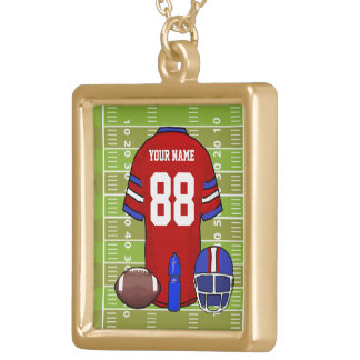 Custom Red and Blue Football Jersey on Field Gold Plated Necklace