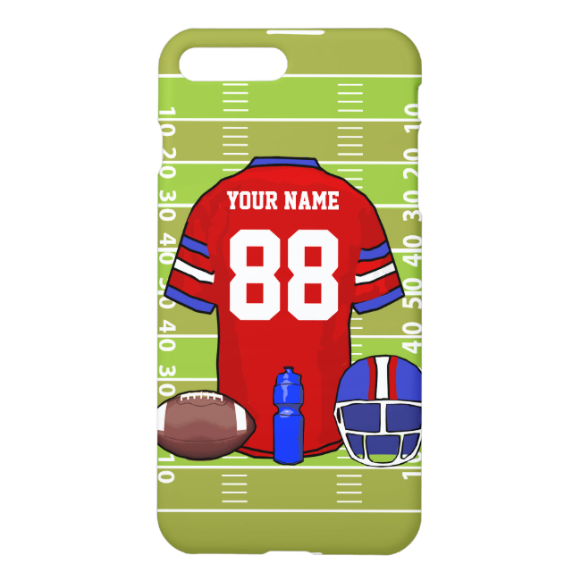 Custom Red and Blue Football Jersey on Field iPhone 7 Plus Case