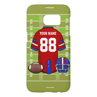 Custom Red and Blue Football Jersey on Field Samsung Galaxy S7 Case
