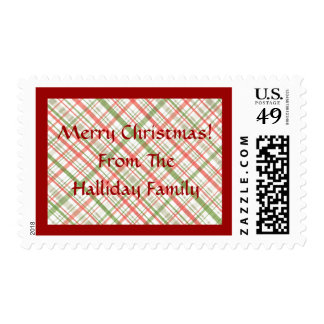 Custom Red and Green Christmas Plaid Holiday Stamp
