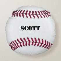 Custom Red and White Baseball Pillow