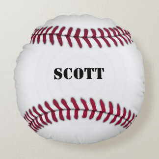 Custom Red and White Baseball Pillow