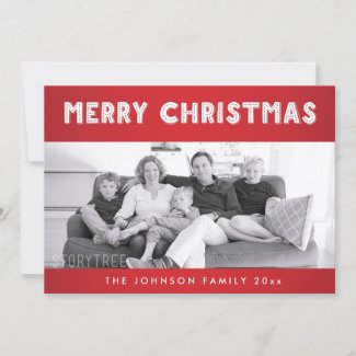 Custom Red And White Merry Christmas Photo Cards