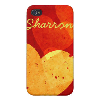 Custom Red and Yellow Hearts iPhone 4 Case