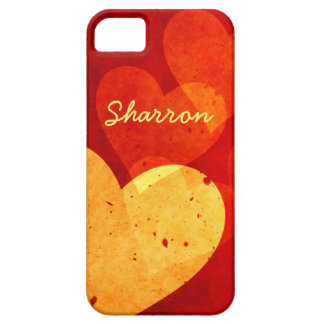 Custom Red and Yellow Hearts iPhone 5 Case