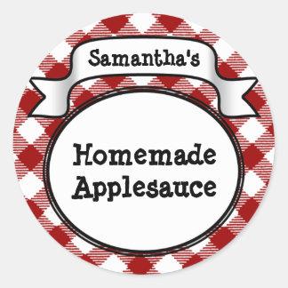 Custom Red Apple/Applesauce Canning Jar Label Classic Round Sticker