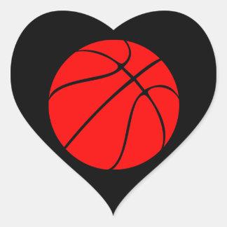 Custom Red Basketball Heart Scrapbook Stickers