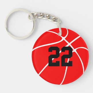 Custom Red Basketball Keychain (Keyring)