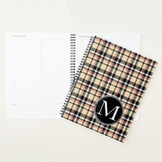 Custom Red Beige Black White Squares Plaid Pattern Planner