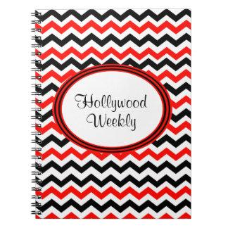 Custom Red Black and White Chevron Notebook