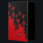 "Custom Red Black Heart Fractal iPad Air 2 Case<br><div class=""desc"">Personalized Red Black Heart Fractal iPad Air 2 Case. Dramatic red and black abstract with black hearts and your name and custom message. Fill in your name and initial at the prompt, and personalize your custom message or delete extra text. Customize anyway you like. Keep your favorite tablet in style....</div>"