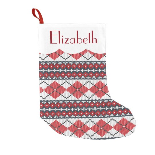 Custom Red Blue & White Nordic Fair Isle Argyle Small Christmas ...