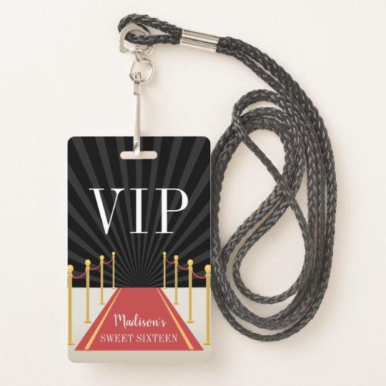 custom red carpet vip pass sweet sixteen badge