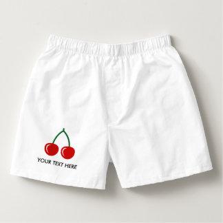 Custom red cherry boxer shorts underwear for men