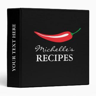 Custom red chili pepper kitchen recipe binder book