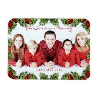 Custom Red Christmas Family Photo and Name Rectangular Photo Magnet
