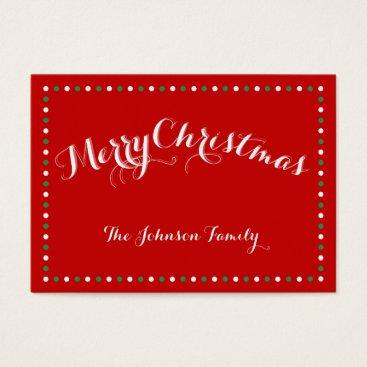 Christmas Themed Custom Red Christmas Gift Tags Business Cards