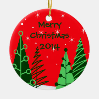 Custom Red Christmas Trees Ornament w/ Date Ornaments