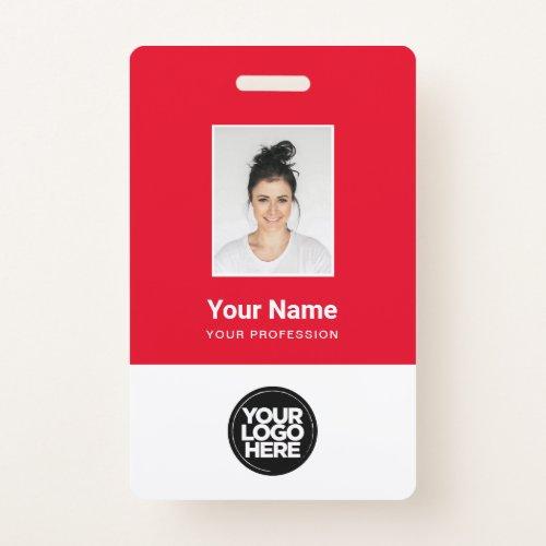 Custom Red Employee Photo, Bar Code, Logo, Name Badge
