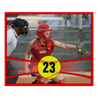 Custom Red Fastpitch Softball Poster