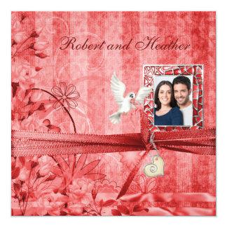 Custom Red Floral Photo Wedding Invitations