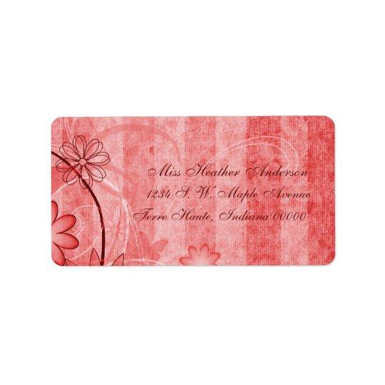 Custom Red Floral Wedding Address Labels