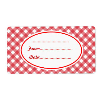 Custom Red Gingham Kitchen Food Gift Tags Labels